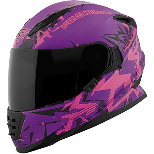 Speed and Strength Men's SS1600 Critical Mass Street Motorcycle Helmet - Matte Pink/Black/Purple / Medium