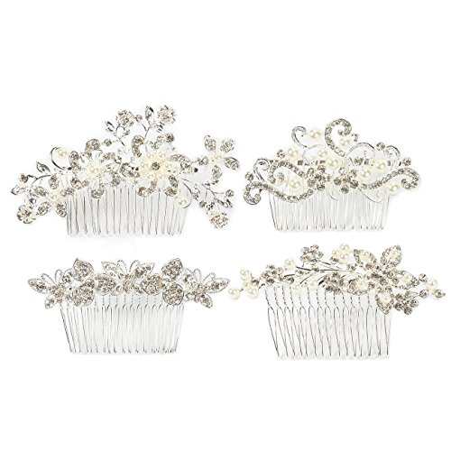 (4-Pack Bridal Hair Comb Set - Decorative Rhinestone Wedding Combs for Bridesmaids, Engagement Parties, Bridal Showers, Silver)