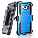 Grand prime Case,Galaxy G530 Case,LUOLNH Heavy Duty Shockproof Durable Full Body Protection Rigged Hybrid Case with belt clip holster and Kickstand for Samsung Grand Prime G530H/G5308W(Blue)