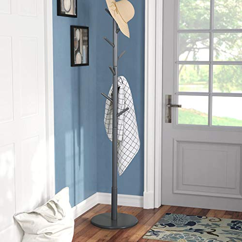 Vlush Wooden Coat Rack Free Standing, Coat Hat Tree Coat Hanger Holder Stand with Round Base for Clothes,Scarves,Handbags,Umbrella-(8 Hooks, Gray)