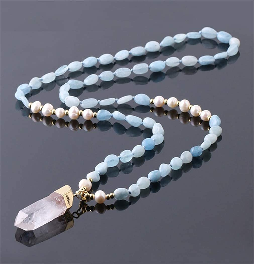 PRsellings Collar De Perlas De Piedras Naturales Cuerda Anudada Colgante De Gota De Cristal Blanco para Mujer Collares De Cadena De Suéter