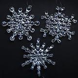 "6 pcs 5"" Clear Acrylic Beaded Snowflakes - Christmas Ornaments"