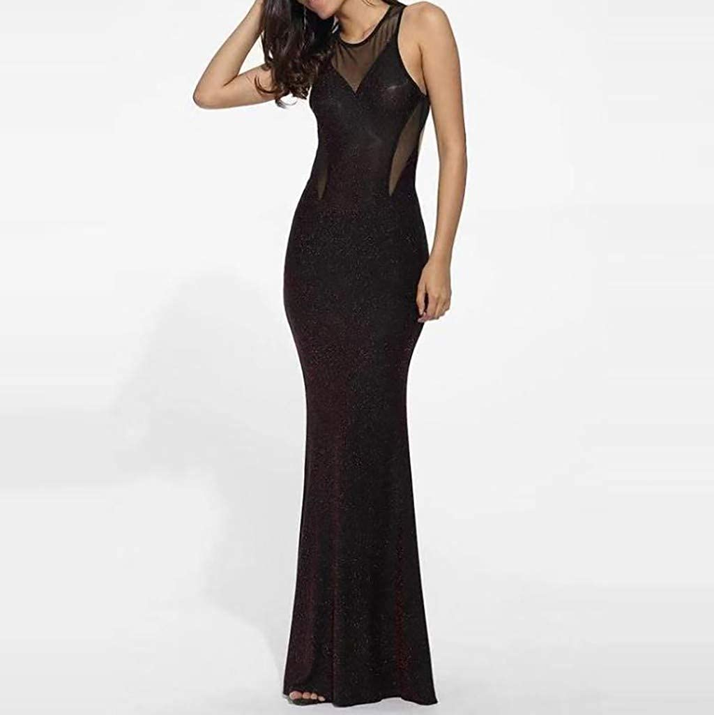 d9f8d0a2dce1 Salaks Women Sexy Mesh Backless Dress Sequin Stitching Sleeveless Bodycon  Evening Maxi Dress at Amazon Women's Clothing store: