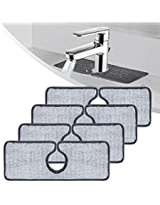 Wehhbtye 4PCS Faucet Absorbent Mat-Grey Faucet Wraparound Absorbent Mat,Faucet Splash Catcher,Microfiber Cloth Dish Cleaning Drying Pads for Kitchen Bathroom Faucet Counter Sink Water Stains Prevent