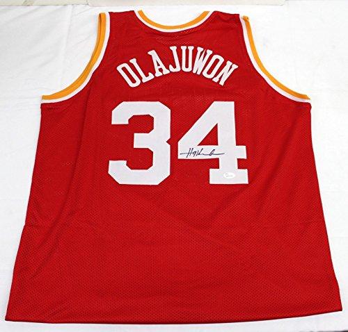 HAKEEM OLAJUWON SIGNED AUTOGRAPHED RED CUSTOM PRO STYLE JERSEY JSA #WP413739