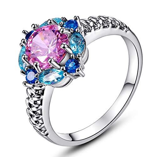 Fashion Women's Wedding Jewelry Round & Marquise Cut Pink & Blue Topaz & Sapphire Quartz Green Amethyst & Garnet Gemstones 14K White Gold Filled Ring Size 6 7 8 9 - 14k Gemstone Amethyst