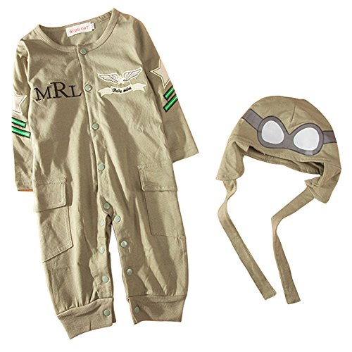Carrillos Baby Aviator Long Sleeve Jumpsuit Clothes, Army green, 6-12M(Tag:80) (Aviator Outfit)