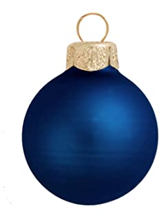 8ct matte midnight blue glass ball christmas ornaments 325 - Teal Christmas Ornaments