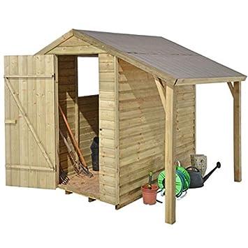Garden Central - Caseta de madera solapada tratada a presión (1, 83 x 1, 22 m, con saledizo): Amazon.es: Jardín