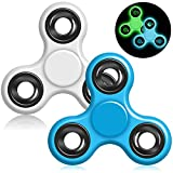 YuCool 2 Pack Fluorescent Hand Fidget Spinner, Glow in the dark is Green and Blue, Tri-Spinner EDC Finger Fidget Toy for Kids and Adults - Daytime White/Blue
