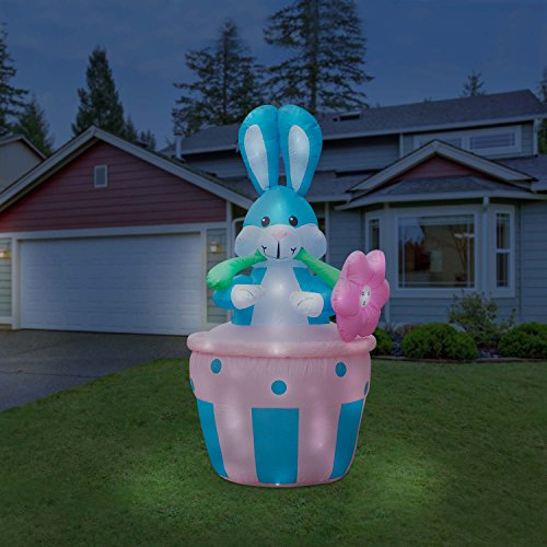 Holidayana Inflatable 8FT Giant Easter Bunny In Basket Inflatable Featuring Lighted Interior / Airblown Inflatable Easter Decoration With Built In Fan And Anchor Ropes