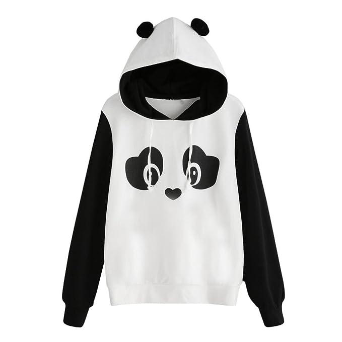 Koly Panda Mujeres Jersey Blusa Sudadera con Capucha de Bolsillo de impresión Gato Sudaderas con Capucha