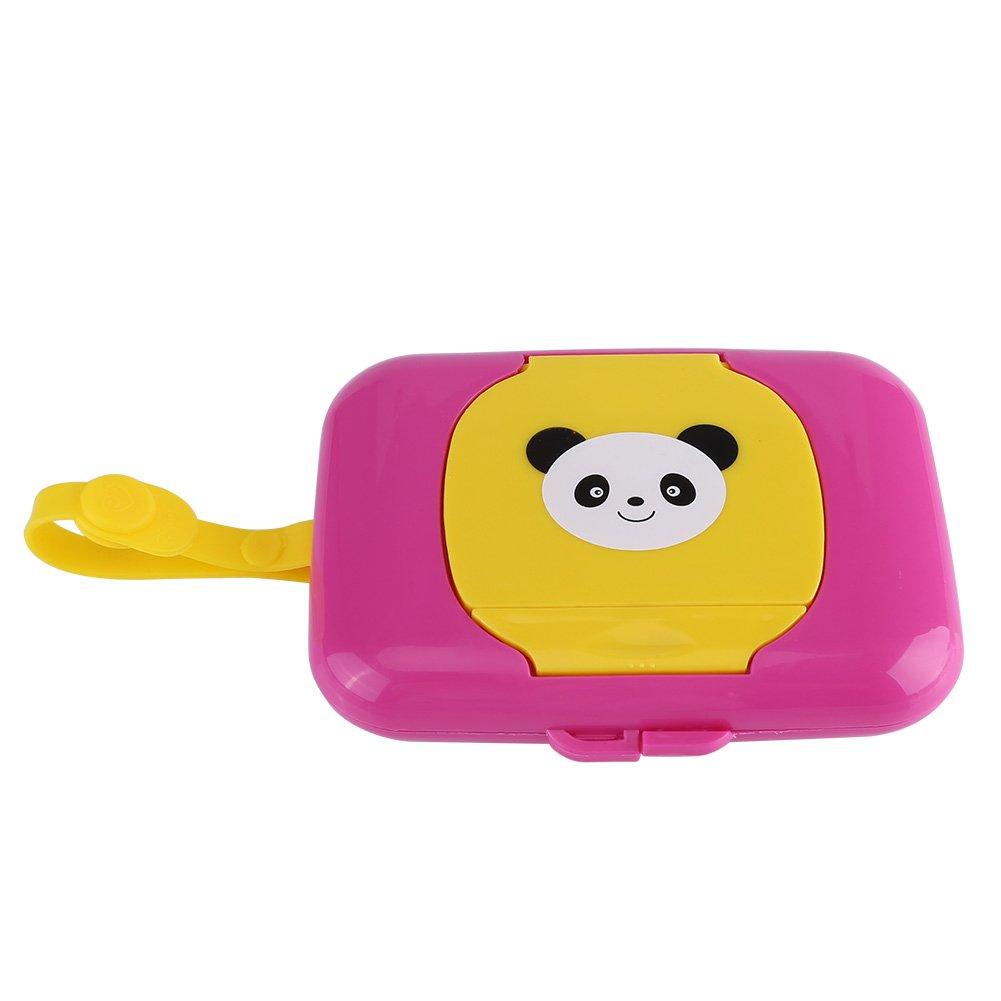 Baby Outdoor Portable Wet Tissue Dispenser Case Infant Reusable Stroller Pram Wet Wipes Box Convenient Tissue Case for Travel(Rose + Yellow)