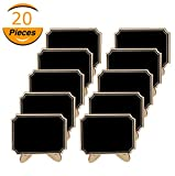 20 Pack Mini Chalkboards with Support Easels Stand,Place Cards Small Rectangle Little Wood Blackboard for Weddings Birthday Parties Food Label Table Number Message Board Signs