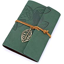 EvZ 7 Inches Vintage Dark Green PU Leather Cover Loose Leaf Blank Notebook Journal Diary Gift