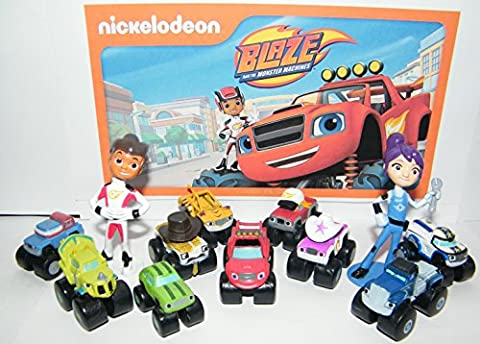 Nickelodeon Blaze and the Monster Machines Party Favors Goody Bag Fillers Set of 13 Figures with Blaze, Zeg the Dinosaur Truck, AJ and Many - Party Machine