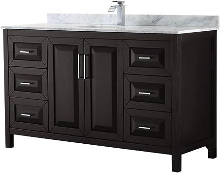 Wyndham Collection Daria 60 Inch Single Bathroom Vanity In Dark Espresso White Carrara Marble Countertop Undermount Square Sink And No Mirror Amazon Com