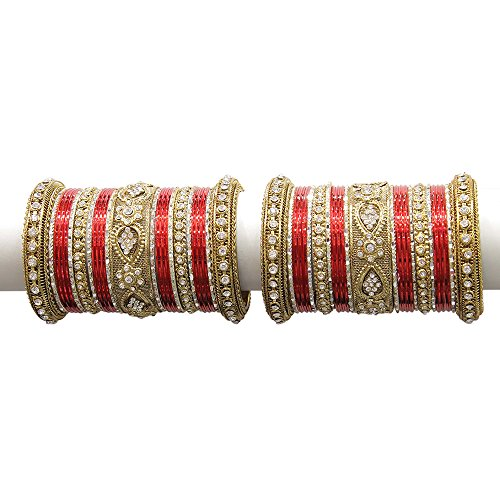 MUCH-MORE Beautiful Multi Color Bangles for Women & Girls Wedding Jewelry (Red, 2.4) ()