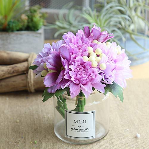 Hot Sale!DEESEE(TM)Artificial Silk Fake Flowers Leaf Rose Floral Wedding Bouquet Party Home Decor (Purple)