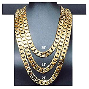 Hollywood Jewelry Cuban Link Chain Necklace for Men Real 14K White Gold 11MM, 14 Karat Diamond Cut w Solid Clasp US Made