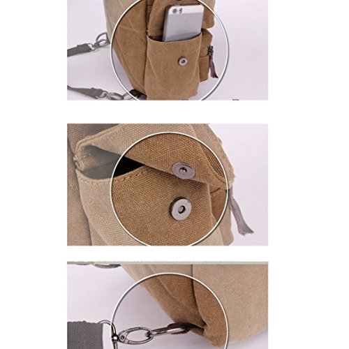 Multi Retro purpose Backpack Canvas Shoulder Brown Bag Leisure Travel Business Laidaye p0Sqw5