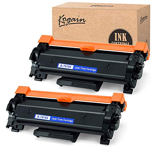Kogain Replacement for Brother TN760 TN-760 TN730 Toner Cartridge High Yield 2 Pack,Compatible with Brother HL-L2350DW HL-L2370DWXL MFCL2710DW DCP-L2550DW HL-L2395DW MFC-L2750DW MFC-L2750DWXL Printer
