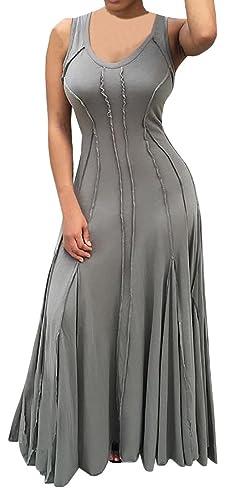 Bigyonger Women's Round Neck Slim Sleeveless Pleated Maxi Dress
