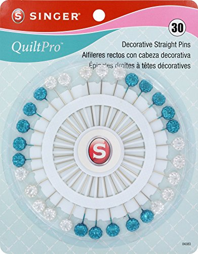 (SINGER 04383 Quiltpro Decorative Head Pins on Wheel, Size 32, Nickel Plated Steel)