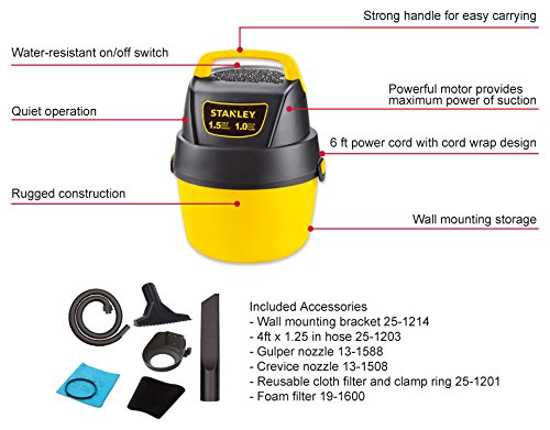 Stanley Wet Dry Vacuum With Wall Mount 1 Gallon 1 5