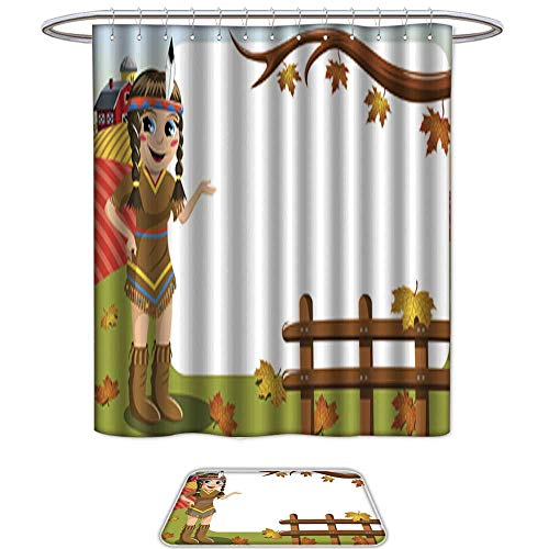 UHOO Bathroom Sets Non SlipLittle Girl Native American