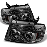 Ford F150 F-150 Pickup Smoked Smoke Dual Halo LED G2 Projector Headlights Front Lamps Replacement