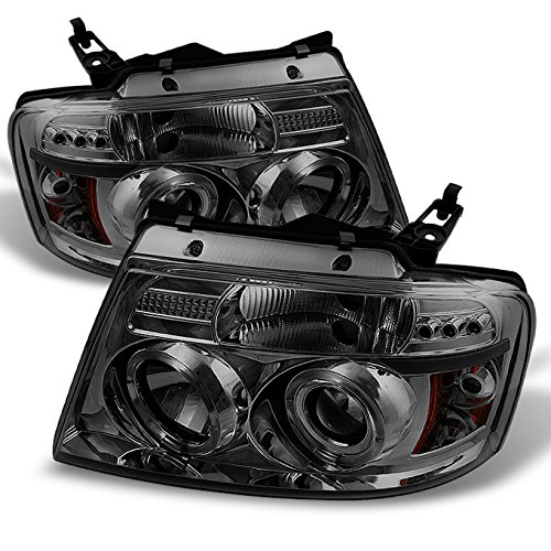 - For Ford F150 F-150 Pickup Smoked Smoke Dual Halo LED G2 Projector Headlights Front Lamps Replacement