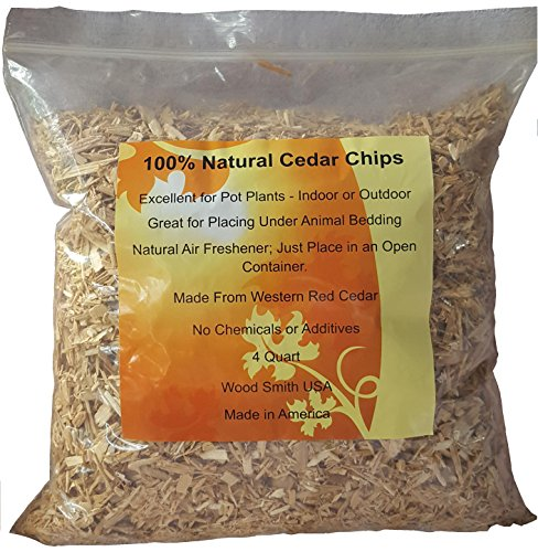 100% Natural Cedar Chips | Mulch | Great for Outdoors or Indoor Potted Plants | Dog Bedding (4 - Wood Garden Chips