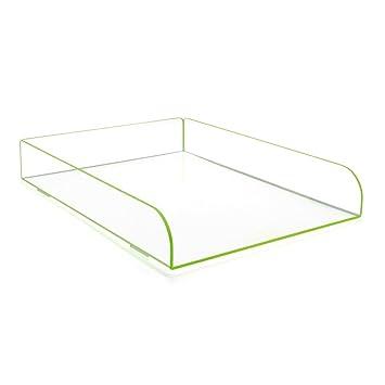 Único verde acrílico plástico apilables bandeja de archivo organizador de escritorio para cartas y documentos,