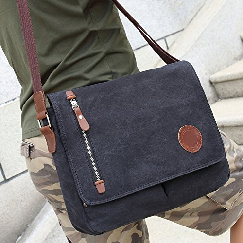 DricRoda Vintage Canvas Briefcase Cross Body Shoulder Bag,Large Capacity Messenger Laptop Satchel Bag with Durable Adjustable Cotton Braided Shoulder Strap for Laptops up to 10 Inches,Black by DricRoda (Image #5)