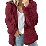 Sanyyanlsy Women's Winter Long Sleeves Drawstring Thick Hoodie Coat Tops Fashion Zipper Thermal Jacket Outwear Pullover Wine