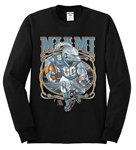 Miami Fans | MIA Fantasy Football | Mens Sports Long Sleeve T-Shirt, Black, X-Large