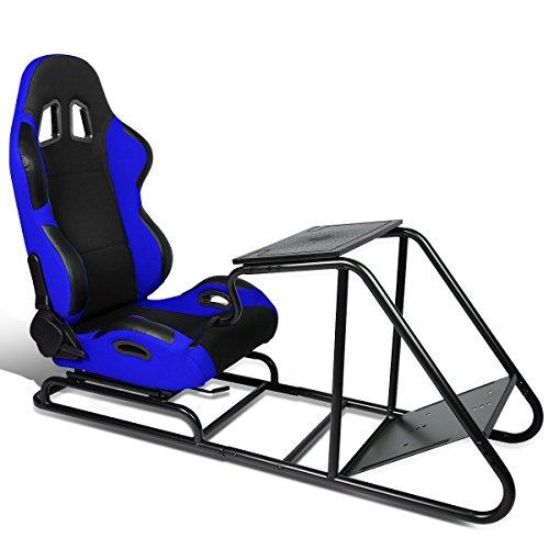 Reclinable Racing Seat Simulator + Adjustable Seat Slider & Steering Wheel/Pedal/Gear Shifter Mount (Black/Blue)