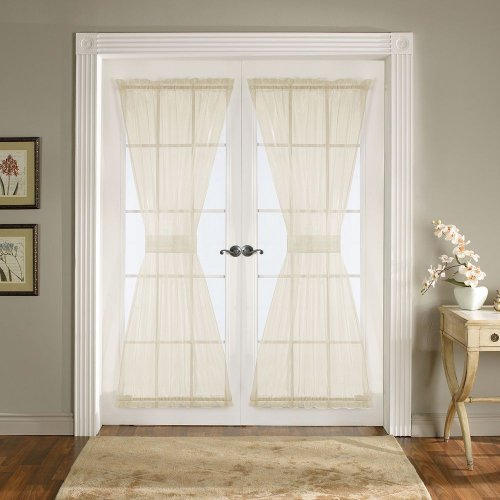 Batiste Sheer French Door Curtain Panel with Tieback by GoodGram® (Beige, 56″ in. Wide x 72″ in. Long)