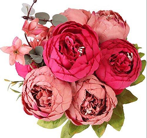 Houda Vintage Artificial Peony Silk Flowers Bouquets Home Wedding Decoration (New dark red)