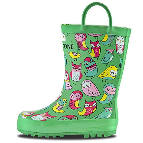 LONECONE Rain Boots with Easy-On Handles in Fun Patterns for Toddlers and Kids, Hoot-y Boots, Little Kid 12 - Wellies Plain