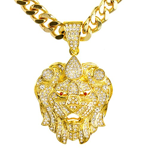 NEW Men's 14K Gold & Silver Plated Iced Out Lion Head Pendant 30