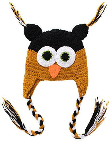 [Bienvenu Baby Cute Crochet Knit Owls Woolly Cap Infant Toddler Earflap Hat,BlackOrange] (Taste Of Home Cupcakes Halloween)