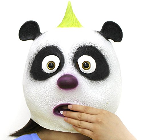 Panda Costume Face (QTMY Latex Rubber Animal Panda Mask for Halloween Party Costume)