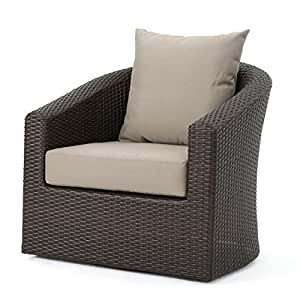 Dillard Outdoor Aluminum Framed Mix Brown Wicker Swivel Club Chair with Water Resistant Cushions (Set o f4, Mix Khaki)