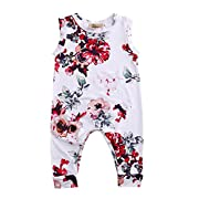 GRNSHTS Toddler Baby Girls Full Flower Print Long Romper (70 cm/0-6 Months, White)