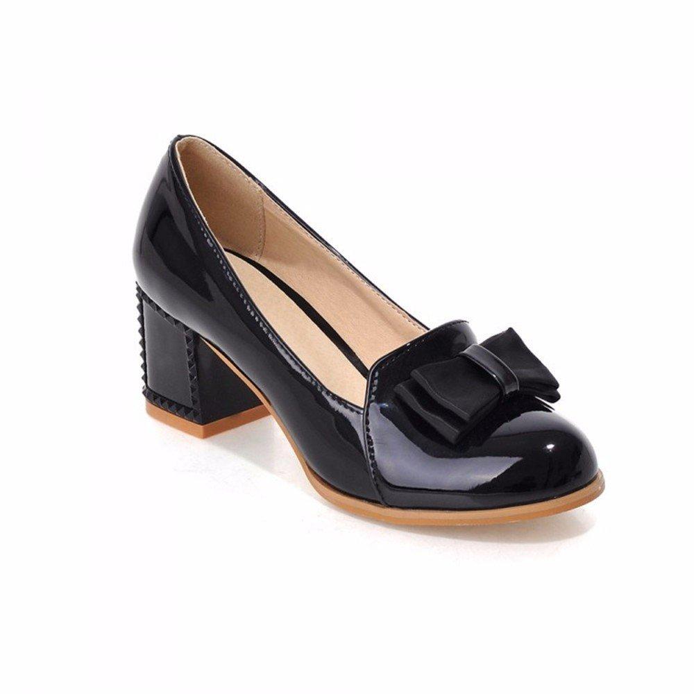 Lack High Heels Schuhe runden Bogen Schuhe lady süße Mädchen Studenten, schwarz, 36