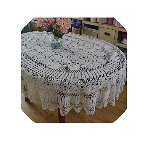 Crocheted Table - Handmade Crocheted Dinner Table Cloth,Lace Cotton Oval Table Cloth, Extra Long Table Cover,Beige,140x220cm