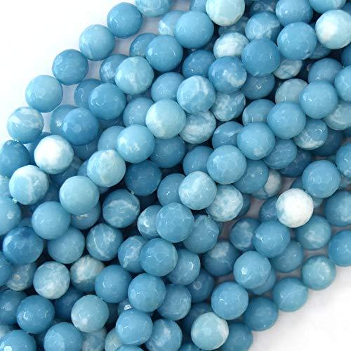 (8mm) 1 Pc of Faceted Blue Larimar Quartz Round Beads 15.5