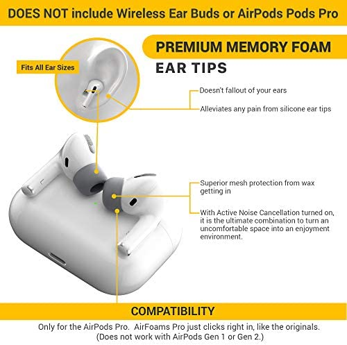2 Same Sizes 2 Medium//Large, Black No Silicone Ear tip Pain Stays in Your Ears CharJenPro AirFoams Pro: Premium Memory Foam Ear Tips for AirPods Pro The Original from Kickstarter.